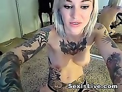 Blonde, Goth, Lingerie, Tattoo, Awesome goth blow job