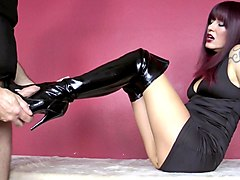 Boots, Leather, Leather pants licking