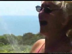 Granny, Beach, Cumshot, Mature, Big breast in beach cabin