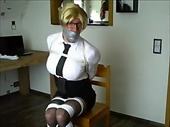 Blonde, Ass, Gagging, Tied, Tied on the sybian
