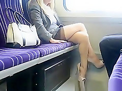 Blonde, Train, Teen-lets-two-guys-touch-her-pussy-in-public-