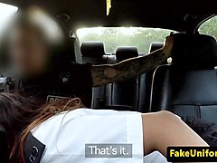 Bus, Police, Milf, Black man punished by two horny police women