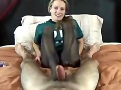 Wife, Footjob, Wife make husband eat cum filled pussy