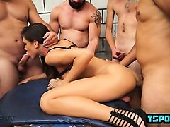 Shemale, Creampie, Mature amateur gangbang