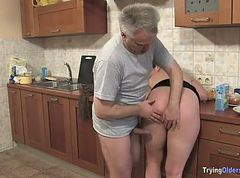 Kitchen, Horny wife get fucked on kitchen while husband