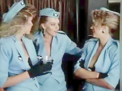 Stewardess, Sexy stewardess opens carrie du four up her bag full of sex toys