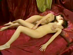 Lesbian, Russian, Mom seduces daughter lesbian threesome