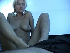 Blonde, Footjob, Footjob handjob strong