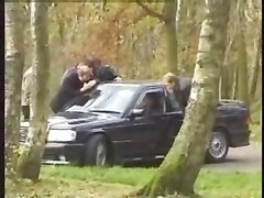 French, Dogging, Wife threesome creampie