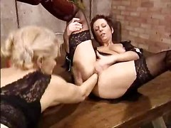 Classic, Lesbian, German, Ass, Two mature lesbians strapon fuck girl