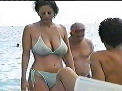 Bikini, Rough, Public, Natural, Masturbation in front on public nature