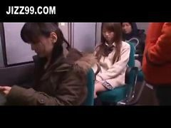 Bus, Cute, White coed toyed fucking in bus