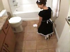 Bath, Bathroom, Maid, Japanese show her body alone in the house