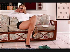 Panties, Pantyhose, Crossed legs in pantyhose and cowboy boots smoking