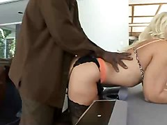 Blonde, Black, Busty blonde scout receives creampie in motor home