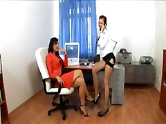 Heels, Secretary, Lingerie, Threesome, Secretary shemale giving handjob cums