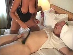 Milf, Mature, Dad fucks daughter in front of tied up mom