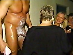 Cfnm, Party, Teen cfnm lover masturbates at tug table