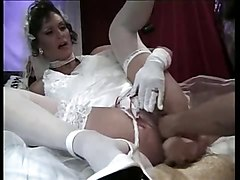 Fisting, Wedding, Dildo, Crossdresser wedding dress cumshot