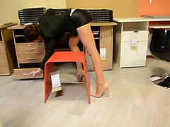 Panties, Upskirt, Heels, Pantyhose, Pakistani secretary fucked by boss in office