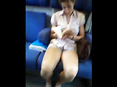 Teen, Train, Blonde flashes tits and pussy in train