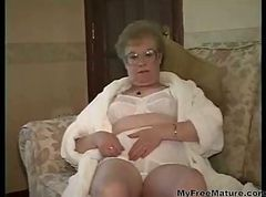 Granny, Dress, Cumshot, Mature, Joga pants cumshot