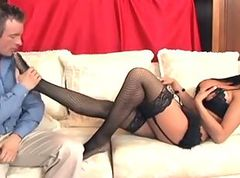 Bus, Footjob, Lingerie, Sister and brother footjob